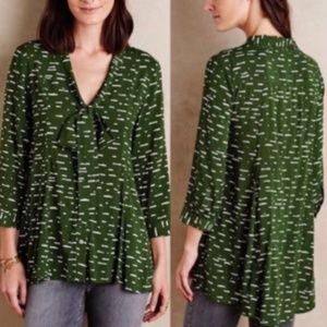 Maeve Anthropologie Green Tunic Size M